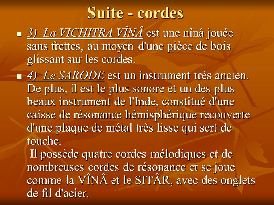 Suite - cordes 3) La VICHITRA VÎNÂ est une nînâ jouée sans frettes, au moyen d'une pièce de bois glissant sur les cordes. 3) La VICHITRA VÎNÂ est une