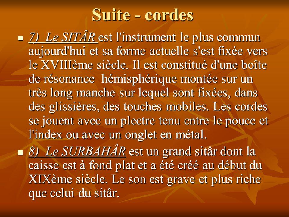 Suite - cordes 7) Le SITÂR est l'instrument le plus commun aujourd'hui et sa forme actuelle s'est fixée vers le XVIIIème siècle. Il est constitué d'un