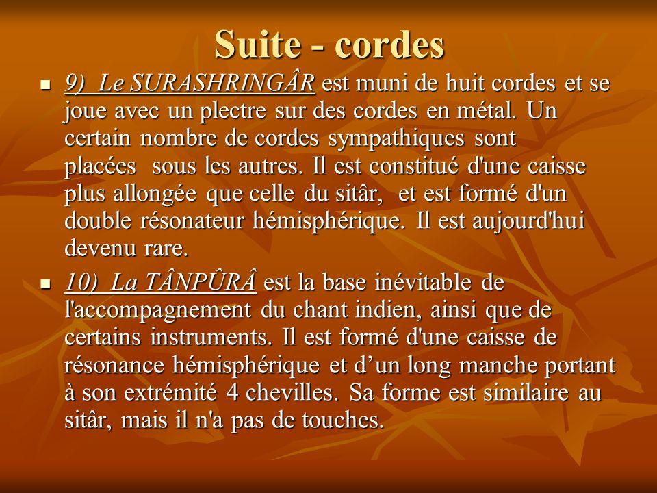 Suite - cordes 9) Le SURASHRINGÂR est muni de huit cordes et se joue avec un plectre sur des cordes en métal. Un certain nombre de cordes sympathiques