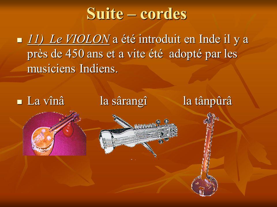 Suite – cordes 11) Le VIOLON a été introduit en Inde il y a près de 450 ans et a vite été adopté par les musiciens Indiens. 11) Le VIOLON a été introd