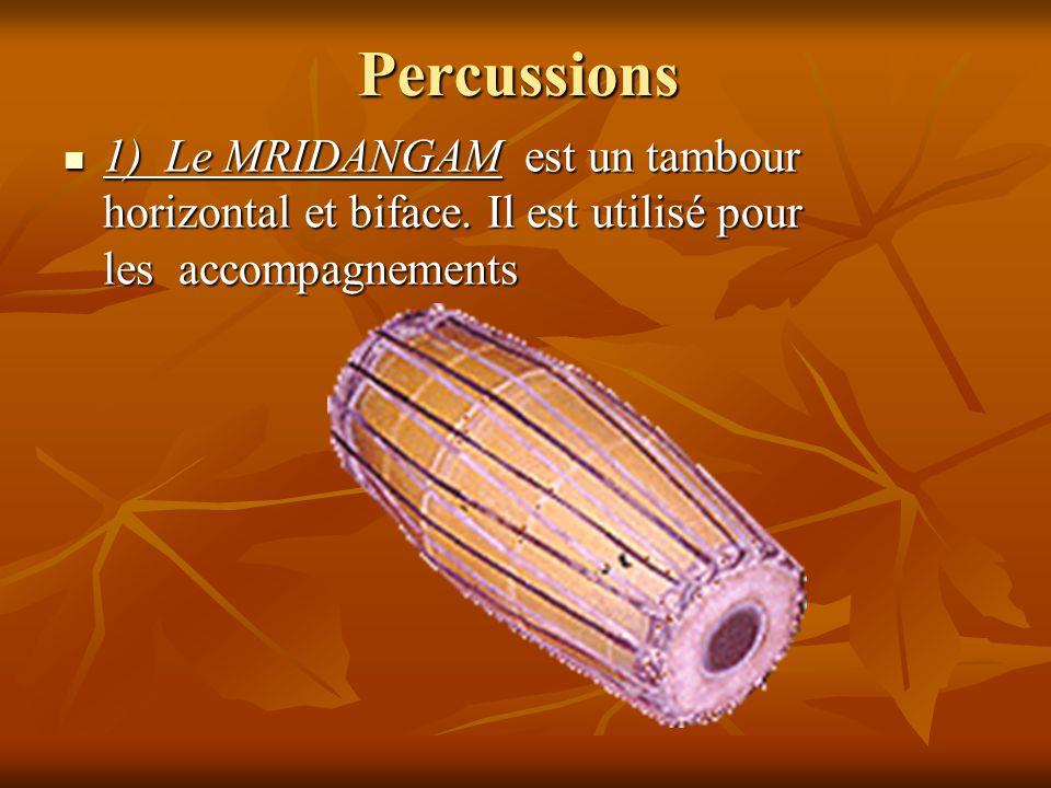 Percussions 1) Le MRIDANGAM est un tambour horizontal et biface. Il est utilisé pour les accompagnements 1) Le MRIDANGAM est un tambour horizontal et