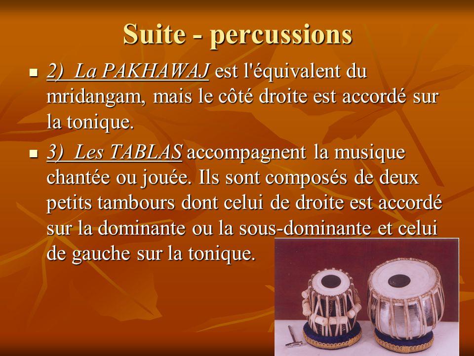 Suite - percussions 2) La PAKHAWAJ est l'équivalent du mridangam, mais le côté droite est accordé sur la tonique. 2) La PAKHAWAJ est l'équivalent du m