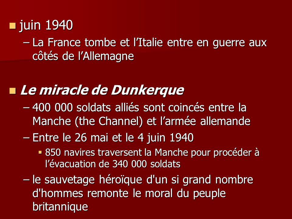 juin 1940 juin 1940 –La France tombe et lItalie entre en guerre aux côtés de lAllemagne Le miracle de Dunkerque Le miracle de Dunkerque –400 000 solda