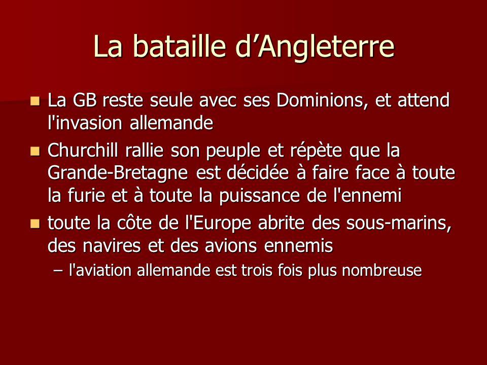 La bataille dAngleterre La GB reste seule avec ses Dominions, et attend l'invasion allemande La GB reste seule avec ses Dominions, et attend l'invasio