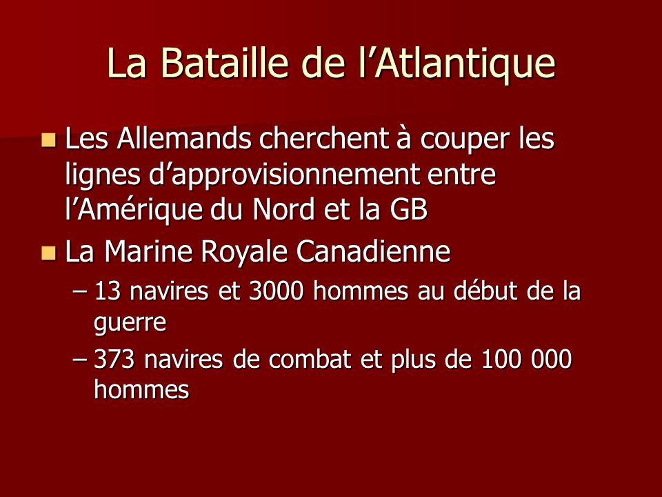 La Bataille de lAtlantique Les Allemands cherchent à couper les lignes dapprovisionnement entre lAmérique du Nord et la GB Les Allemands cherchent à c