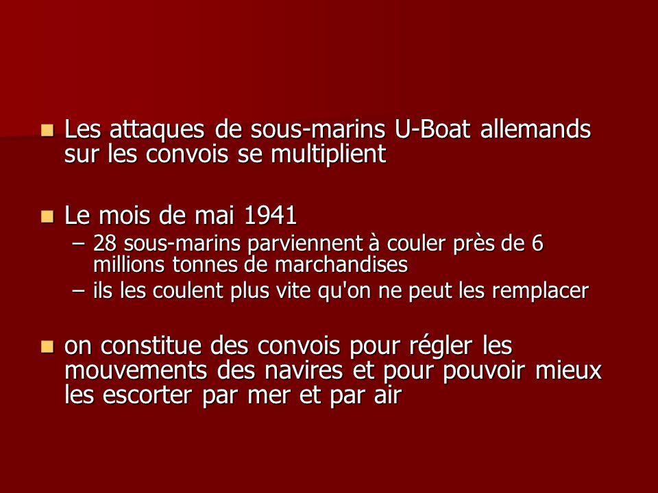 Les attaques de sous-marins U-Boat allemands sur les convois se multiplient Les attaques de sous-marins U-Boat allemands sur les convois se multiplien