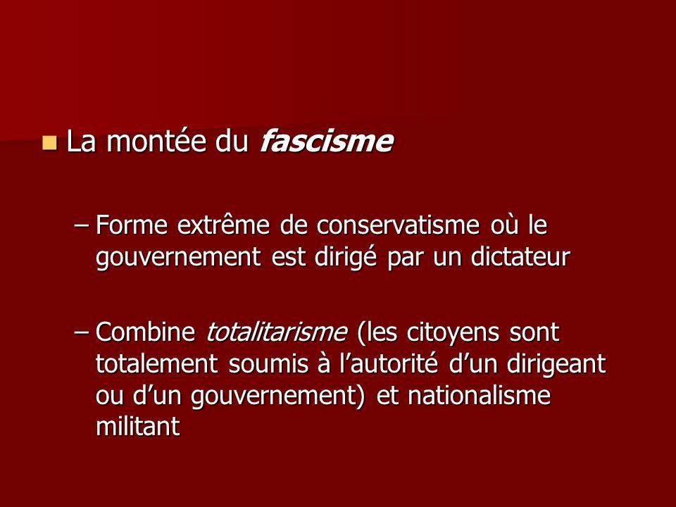 La montée du fascisme La montée du fascisme –Forme extrême de conservatisme où le gouvernement est dirigé par un dictateur –Combine totalitarisme (les