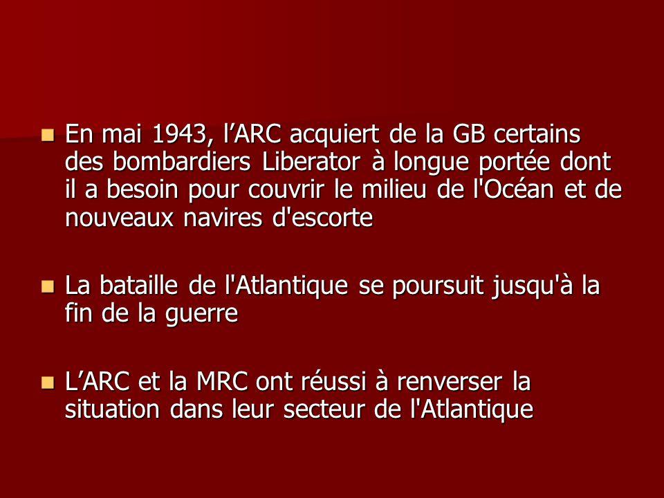 En mai 1943, lARC acquiert de la GB certains des bombardiers Liberator à longue portée dont il a besoin pour couvrir le milieu de l'Océan et de nouvea