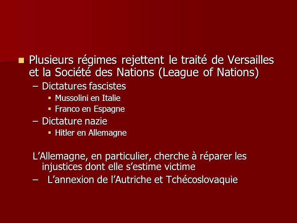 Plusieurs régimes rejettent le traité de Versailles et la Société des Nations (League of Nations) Plusieurs régimes rejettent le traité de Versailles
