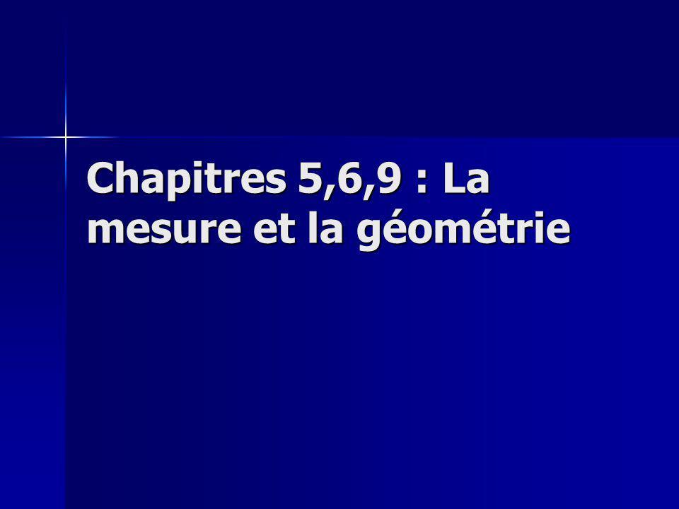 Chapitres 5,6,9 : La mesure et la géométrie
