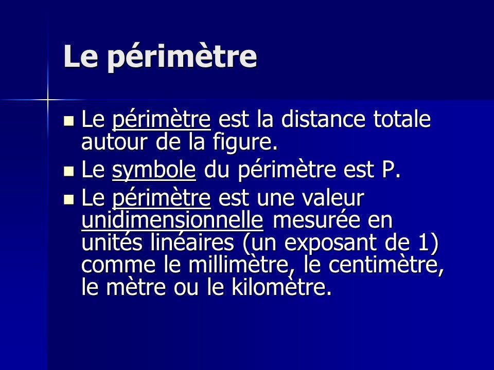 Le périmètre Le périmètre est la distance totale autour de la figure. Le périmètre est la distance totale autour de la figure. Le symbole du périmètre