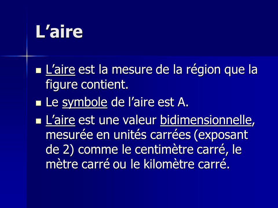 Laire Laire est la mesure de la région que la figure contient. Laire est la mesure de la région que la figure contient. Le symbole de laire est A. Le