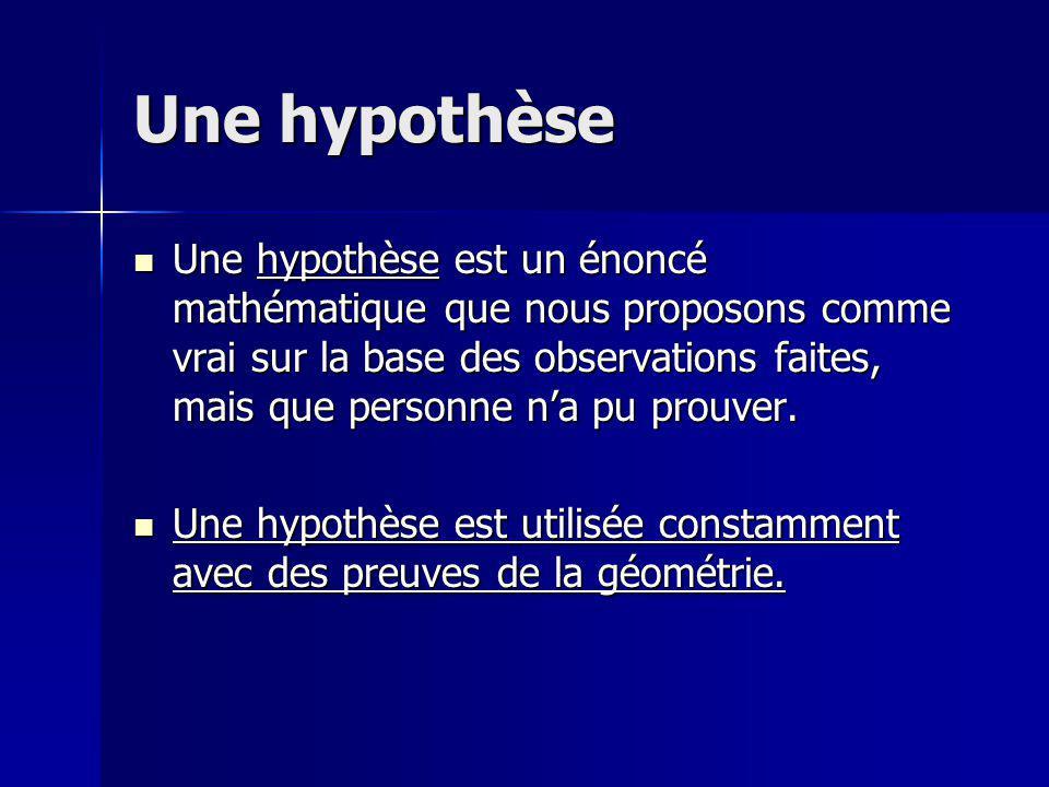 Une hypothèse Une hypothèse est un énoncé mathématique que nous proposons comme vrai sur la base des observations faites, mais que personne na pu prou
