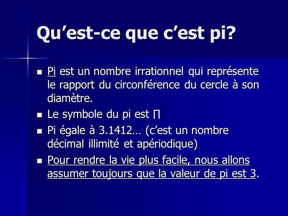 Quest-ce que cest pi? Pi est un nombre irrationnel qui représente le rapport du circonférence du cercle à son diamètre. Pi est un nombre irrationnel q