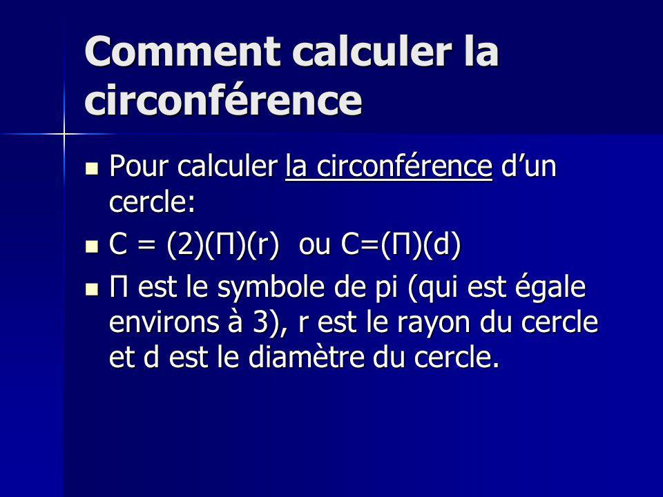 Comment calculer la circonférence Pour calculer la circonférence dun cercle: Pour calculer la circonférence dun cercle: C = (2)(Π)(r) ou C=(Π)(d) C = (2)(Π)(r) ou C=(Π)(d) Π est le symbole de pi (qui est égale environs à 3), r est le rayon du cercle et d est le diamètre du cercle.