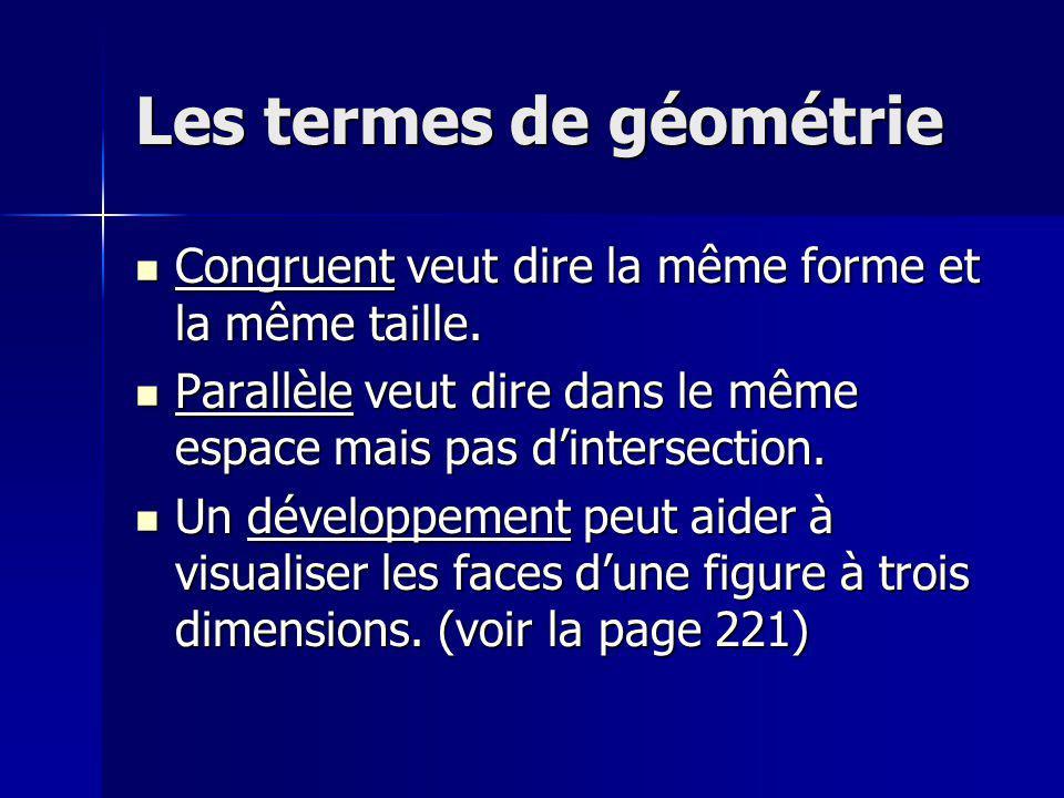 Les termes de géométrie Congruent veut dire la même forme et la même taille. Congruent veut dire la même forme et la même taille. Parallèle veut dire