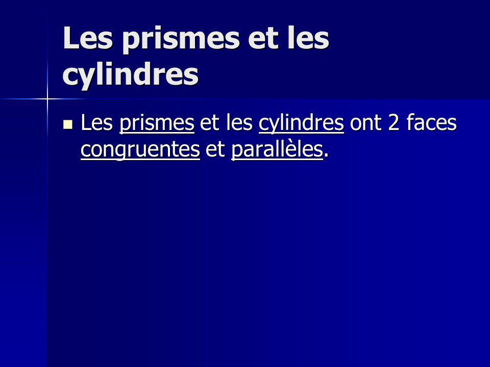 Les prismes et les cylindres Les prismes et les cylindres ont 2 faces congruentes et parallèles. Les prismes et les cylindres ont 2 faces congruentes