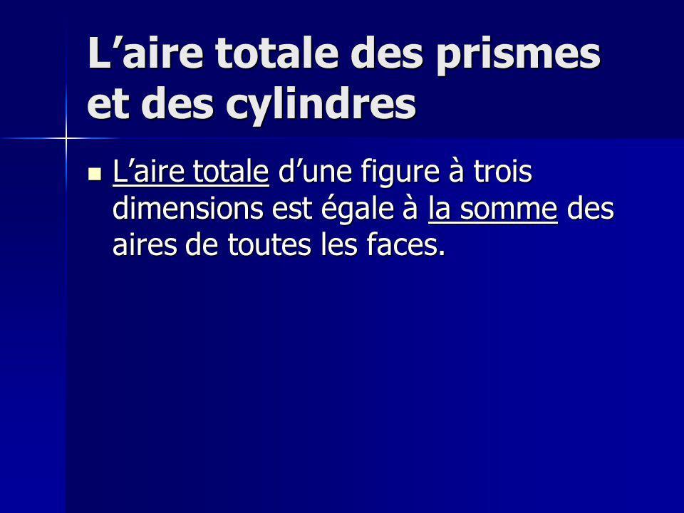 Laire totale des prismes et des cylindres Laire totale dune figure à trois dimensions est égale à la somme des aires de toutes les faces. Laire totale