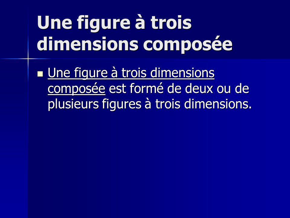 Une figure à trois dimensions composée Une figure à trois dimensions composée est formé de deux ou de plusieurs figures à trois dimensions. Une figure