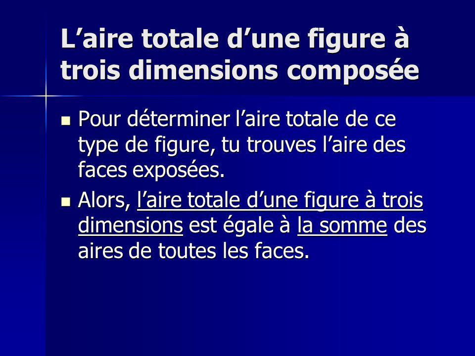 Laire totale dune figure à trois dimensions composée Pour déterminer laire totale de ce type de figure, tu trouves laire des faces exposées. Pour déte