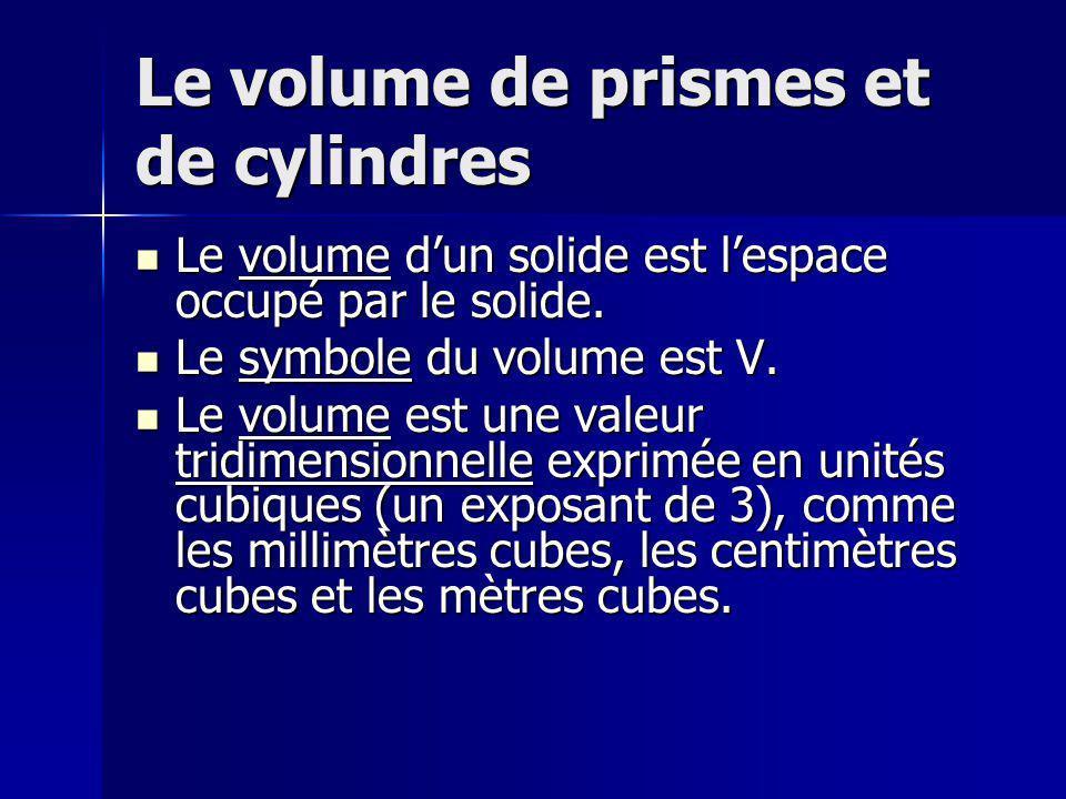 Le volume de prismes et de cylindres Le volume dun solide est lespace occupé par le solide. Le volume dun solide est lespace occupé par le solide. Le