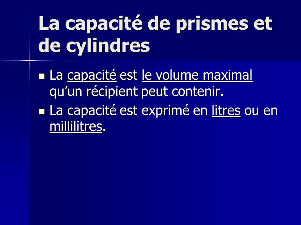La capacité de prismes et de cylindres La capacité est le volume maximal quun récipient peut contenir. La capacité est le volume maximal quun récipien