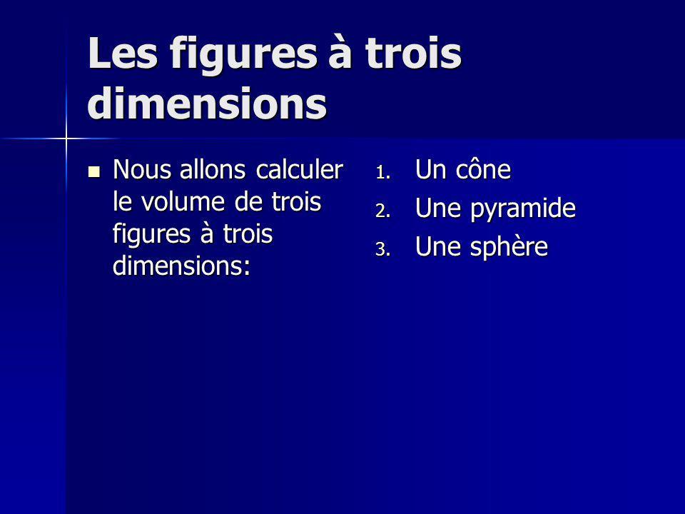 Les figures à trois dimensions Nous allons calculer le volume de trois figures à trois dimensions: Nous allons calculer le volume de trois figures à t