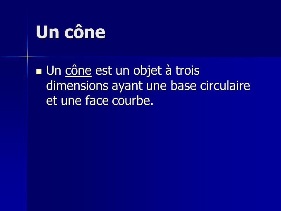 Un cône Un cône est un objet à trois dimensions ayant une base circulaire et une face courbe. Un cône est un objet à trois dimensions ayant une base c