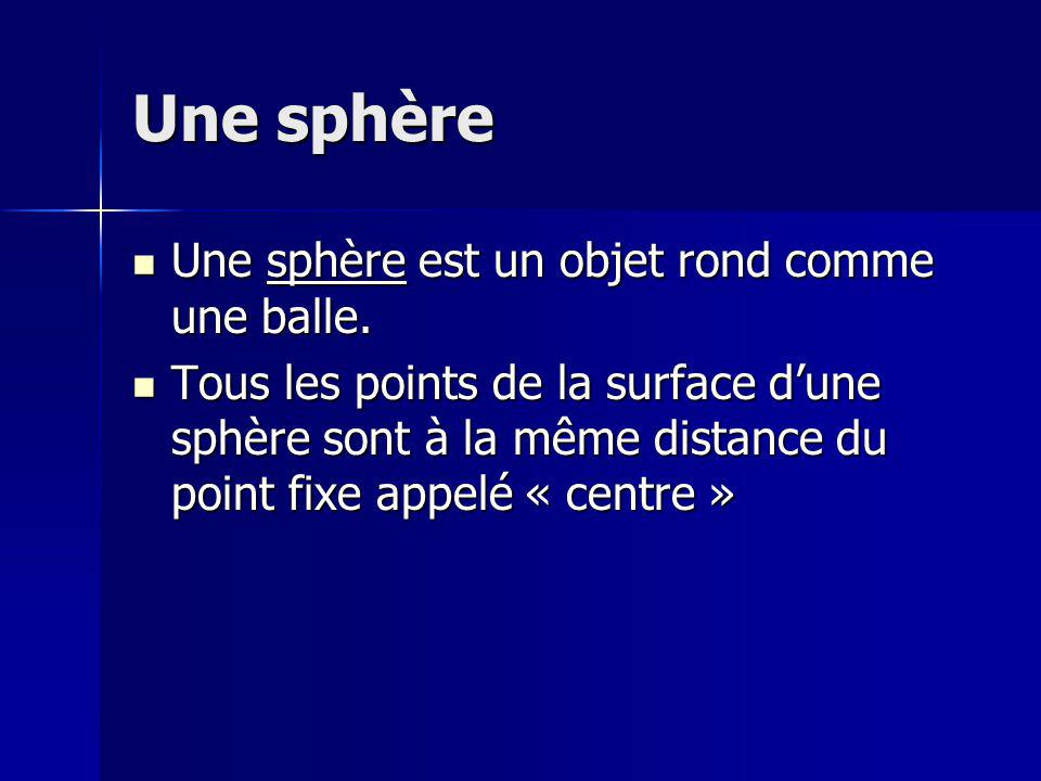 Une sphère Une sphère est un objet rond comme une balle. Une sphère est un objet rond comme une balle. Tous les points de la surface dune sphère sont