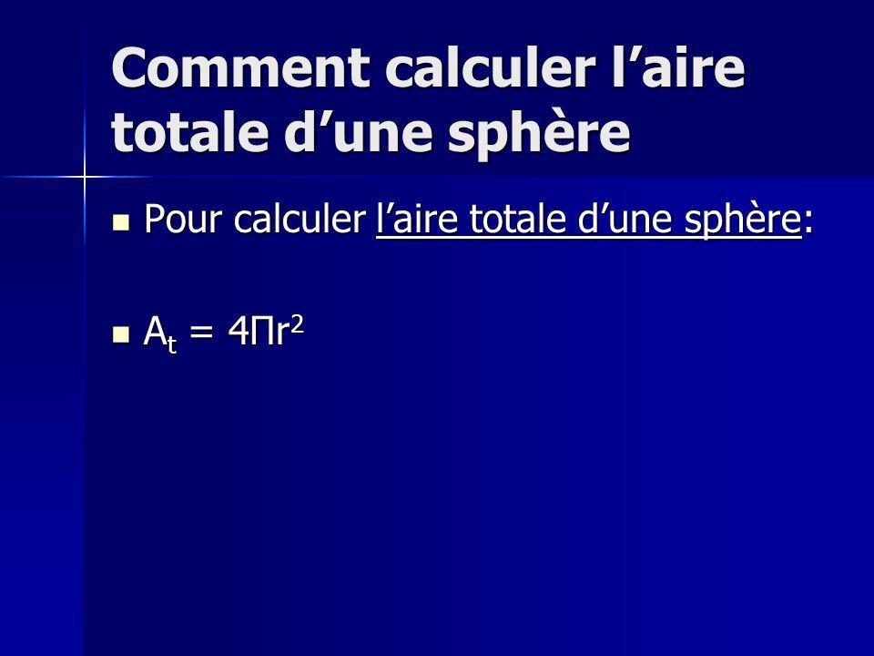 Comment calculer laire totale dune sphère Pour calculer laire totale dune sphère: Pour calculer laire totale dune sphère: A t = 4Πr 2 A t = 4Πr 2