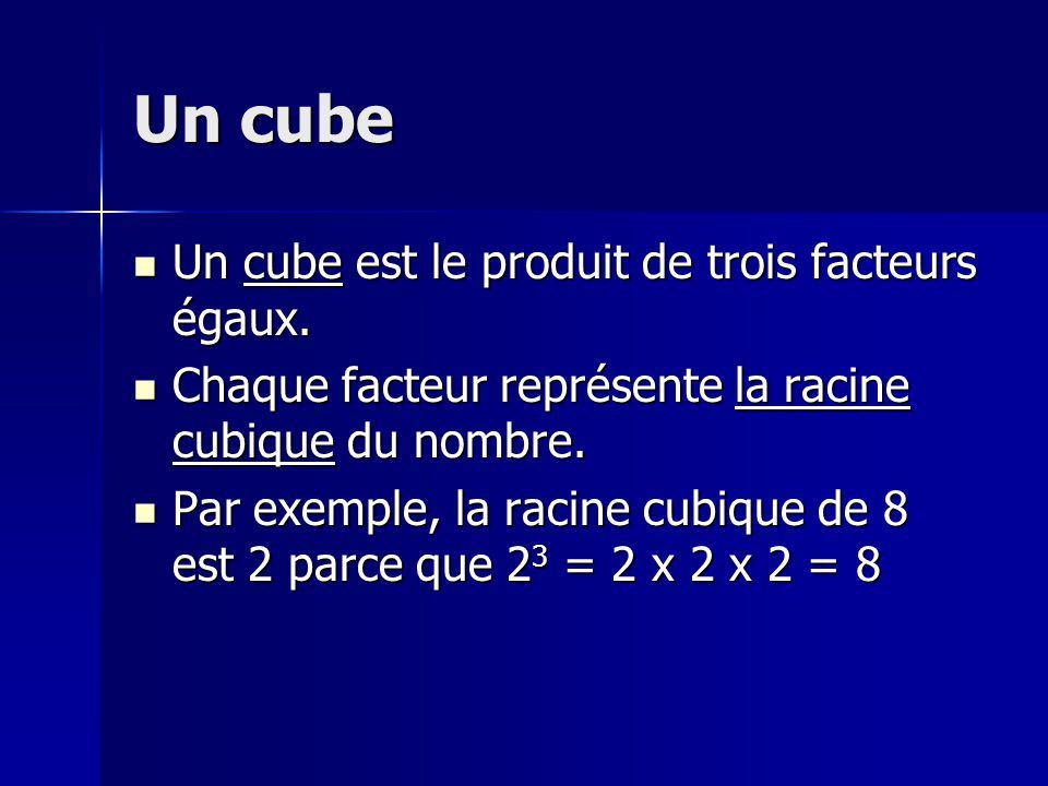 Un cube Un cube est le produit de trois facteurs égaux. Un cube est le produit de trois facteurs égaux. Chaque facteur représente la racine cubique du