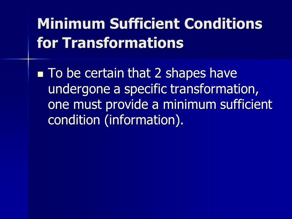 Minimum Sufficient Conditions for Transformations To be certain that 2 shapes have undergone a specific transformation, one must provide a minimum suf