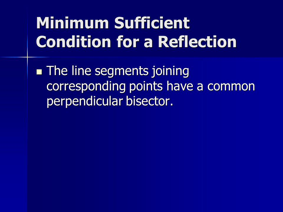 Minimum Sufficient Condition for a Reflection The line segments joining corresponding points have a common perpendicular bisector. The line segments j