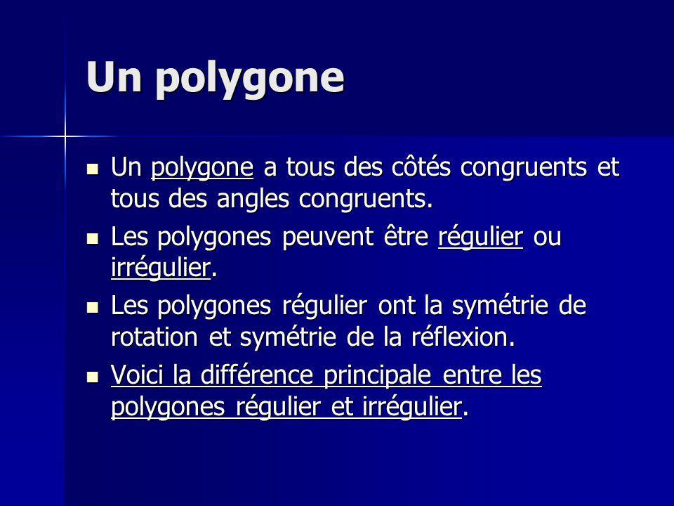 Un polygone Un polygone a tous des côtés congruents et tous des angles congruents. Un polygone a tous des côtés congruents et tous des angles congruen