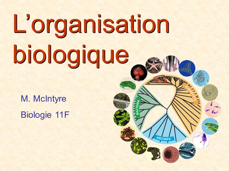 Lorganisation biologique M. McIntyre Biologie 11F