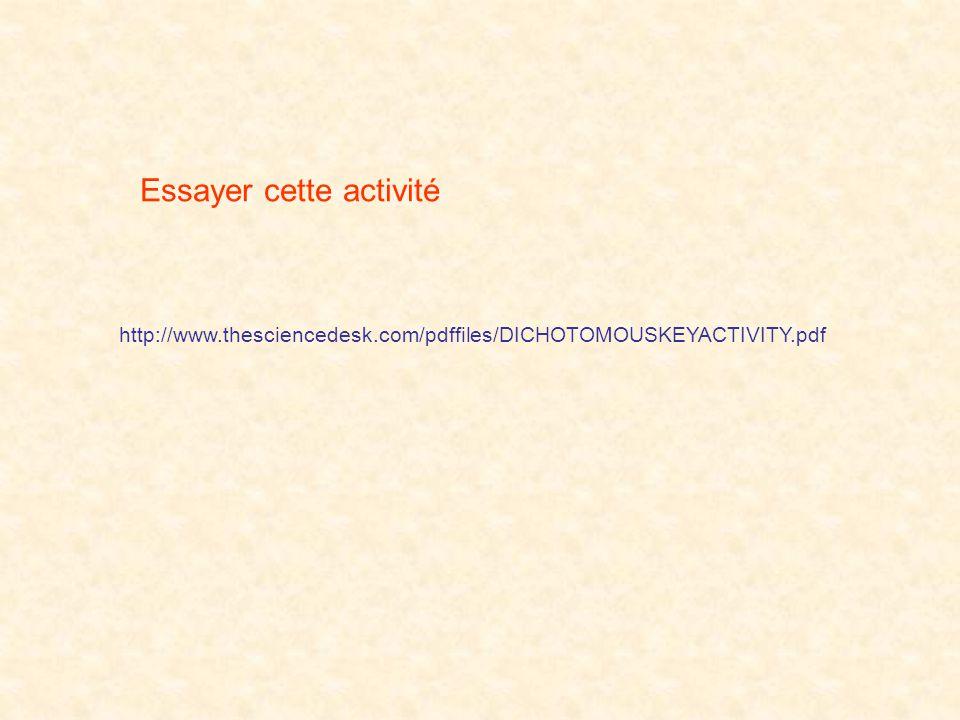 http://www.thesciencedesk.com/pdffiles/DICHOTOMOUSKEYACTIVITY.pdf Essayer cette activité