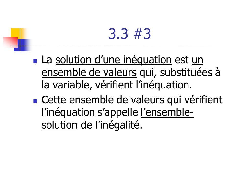 3.3 #3 La solution dune inéquation est un ensemble de valeurs qui, substituées à la variable, vérifient linéquation. Cette ensemble de valeurs qui vér