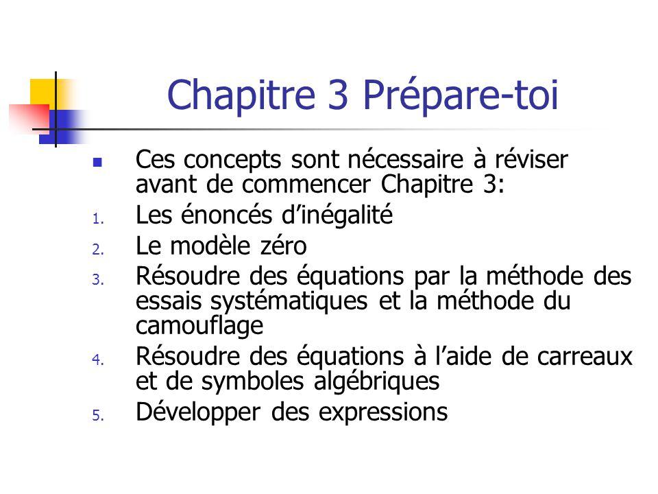 Chapitre 3 Prépare-toi Ces concepts sont nécessaire à réviser avant de commencer Chapitre 3: 1. Les énoncés dinégalité 2. Le modèle zéro 3. Résoudre d