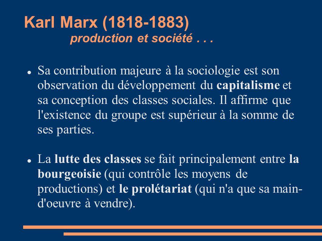 Karl Marx (1818-1883) production et société... Sa contribution majeure à la sociologie est son observation du développement du capitalisme et sa conce