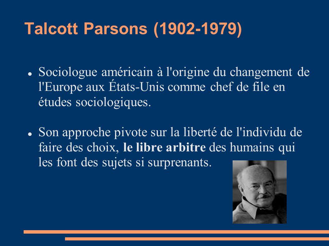 Talcott Parsons (1902-1979) Sociologue américain à l'origine du changement de l'Europe aux États-Unis comme chef de file en études sociologiques. Son