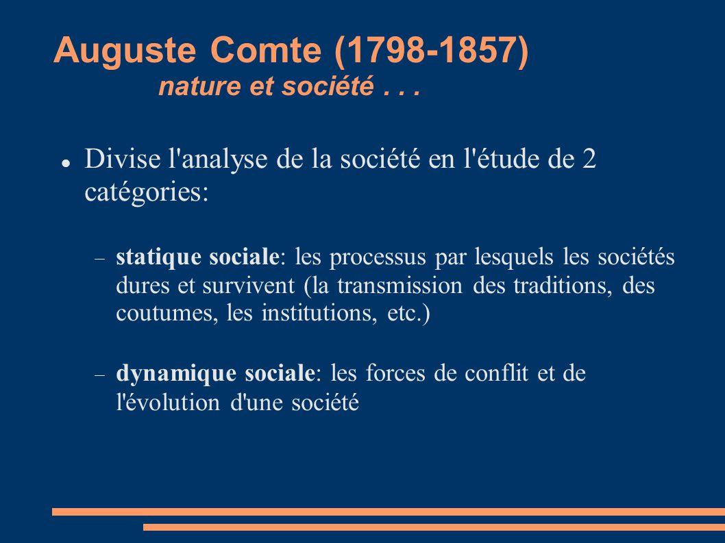Auguste Comte (1798-1857) nature et société... Divise l'analyse de la société en l'étude de 2 catégories: statique sociale: les processus par lesquels