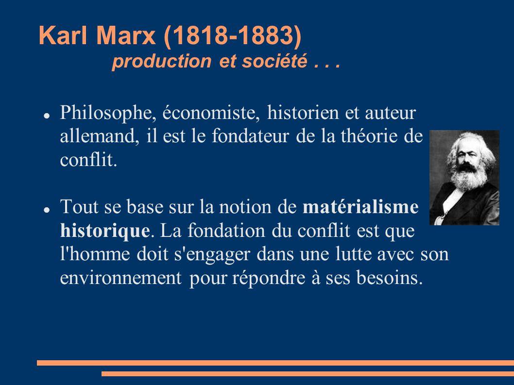 Karl Marx (1818-1883) production et société... Philosophe, économiste, historien et auteur allemand, il est le fondateur de la théorie de conflit. Tou