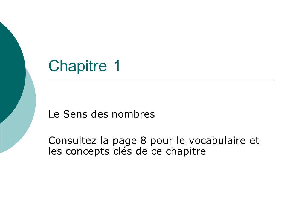 Chapitre 1 Le Sens des nombres Consultez la page 8 pour le vocabulaire et les concepts clés de ce chapitre
