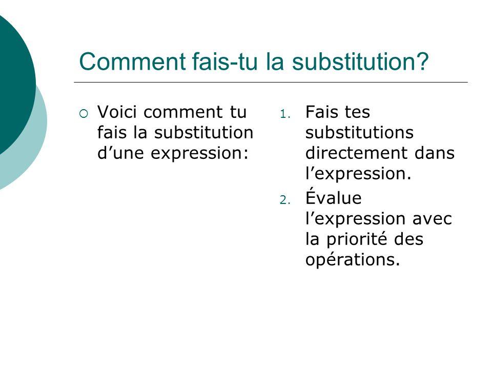 Comment fais-tu la substitution? Voici comment tu fais la substitution dune expression: 1. Fais tes substitutions directement dans lexpression. 2. Éva