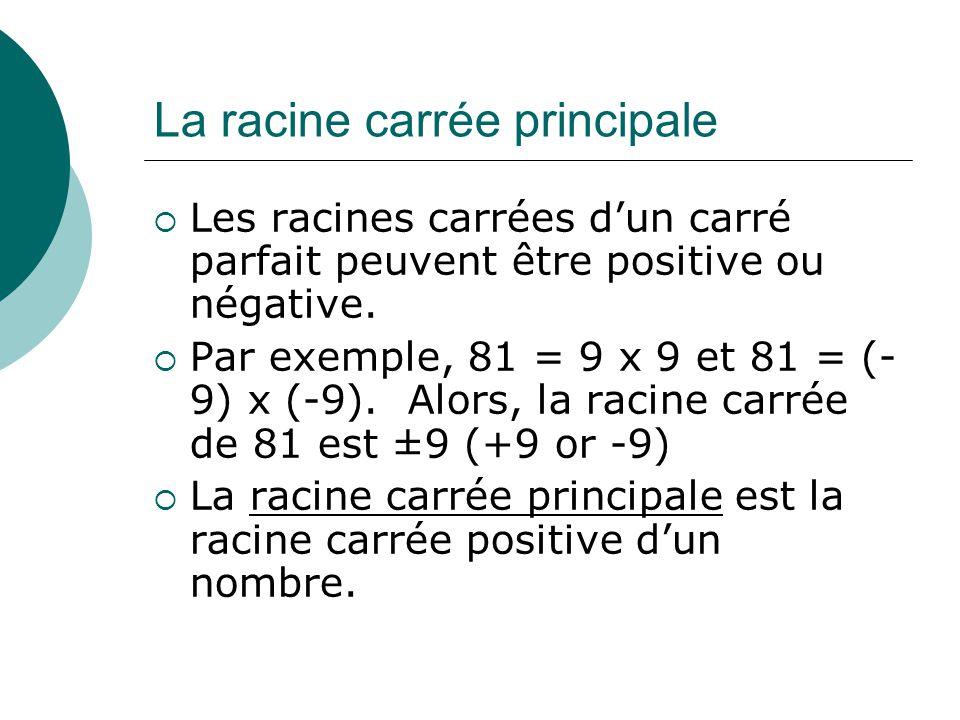 La racine carrée principale Les racines carrées dun carré parfait peuvent être positive ou négative. Par exemple, 81 = 9 x 9 et 81 = (- 9) x (-9). Alo