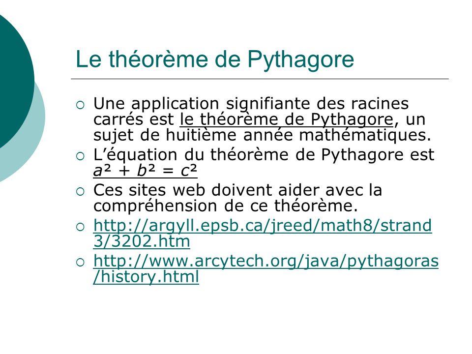 Le théorème de Pythagore Une application signifiante des racines carrés est le théorème de Pythagore, un sujet de huitième année mathématiques. Léquat