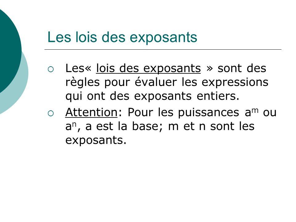 Les lois des exposants Les« lois des exposants » sont des règles pour évaluer les expressions qui ont des exposants entiers. Attention: Pour les puiss