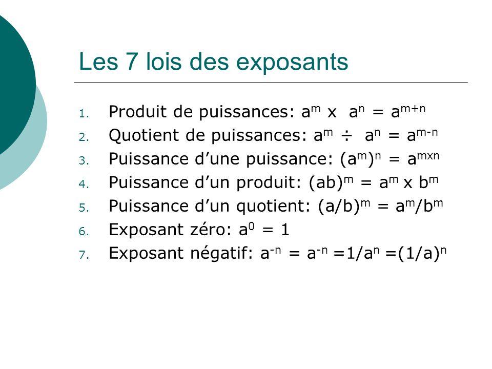 Les 7 lois des exposants 1. Produit de puissances: a m x a n = a m+n 2. Quotient de puissances: a m ÷ a n = a m-n 3. Puissance dune puissance: (a m )