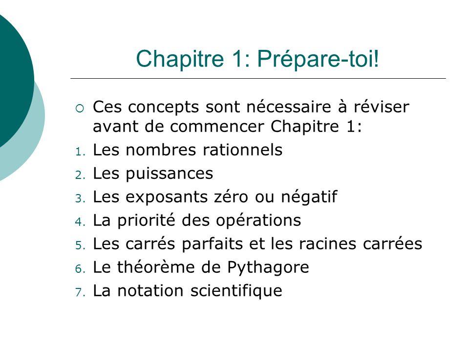 Chapitre 1: Prépare-toi! Ces concepts sont nécessaire à réviser avant de commencer Chapitre 1: 1. Les nombres rationnels 2. Les puissances 3. Les expo