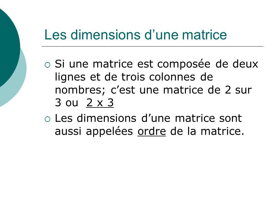 Les dimensions dune matrice Si une matrice est composée de deux lignes et de trois colonnes de nombres; cest une matrice de 2 sur 3 ou 2 x 3 Les dimen